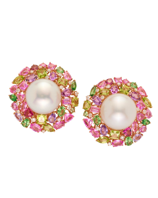 """Swirl"" pink and green, pearl earrings, crafted in 18 karat rose and white gold."