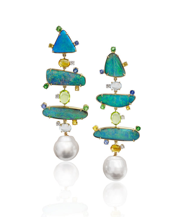 Opal and pearl 'totem' earrings, featuring a suite of complimentary natural Australian Queensland Boulder opal, enhanced with a myriad of gemstones, crafted in 18 karat yellow gold. Finished with a detachable pair of Australian South Sea pearls.