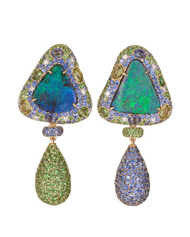 Opal earrings featuring two solid natural Queensland boulder opals surrounded by a myriad of gemstones, completed by a pair of detachable drops in coloured gemstones, crafted in 18 karat yellow and white gold.