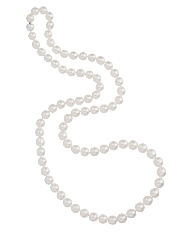 South Sea pearl necklace, featuring a diamond set bayonet clasp, crafted in 18 karat white gold.