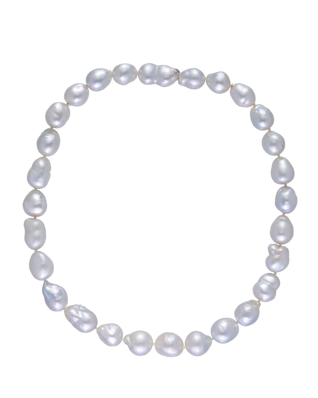 Australian South Sea pearl necklace featuring a diamond set bayonet clasp, crafted in 18 karat white gold.