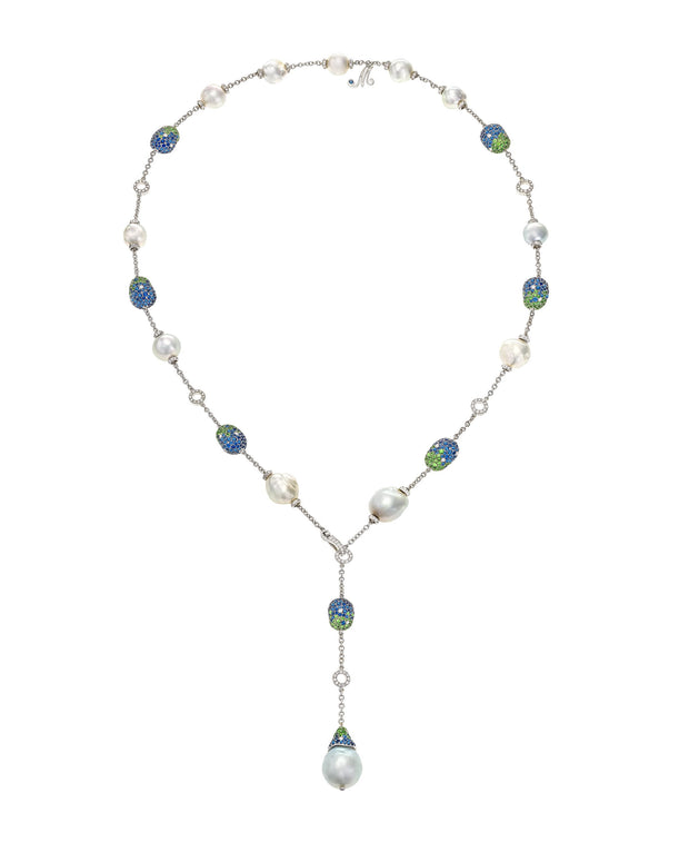 """Bliss"" lariat necklace with Australian South Sea pearls enhanced with 'pebbles' of sapphires, tsavorites and diamonds, crafted in 18 karat white gold."