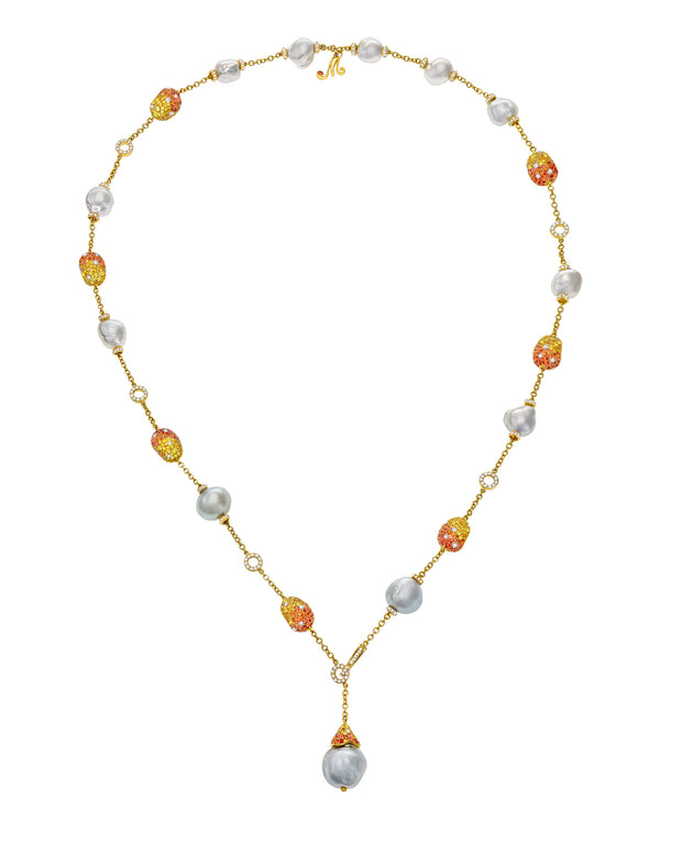 """Bliss"" Lariat Necklace with Australian South Sea pearls enhanced with 'pebbles' of yellow and orange sapphires and diamonds, crafted in 18 karat yellow gold."