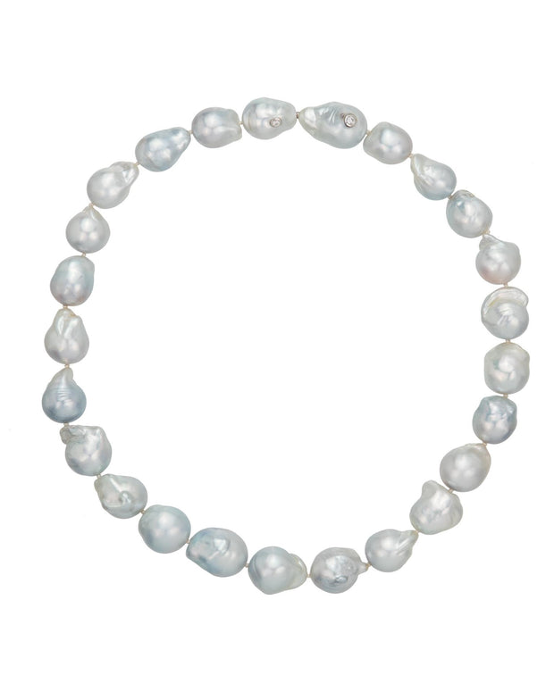 South Sea baroque pearl strand, with hidden bayonet clasp, crafted in 18 karat white gold.