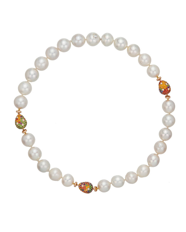 South Sea pearl and multi-colour 'pebble' rondelle necklace, crafted in 18 karat rose gold.