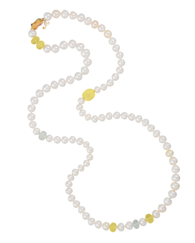 South Sea pearl and green amethyst necklace, crafted in 18 karat yellow gold.