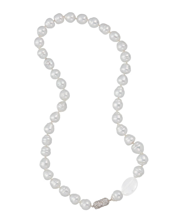 South Sea pearl, quartz and diamond necklace, crafted in 18 karat white gold.