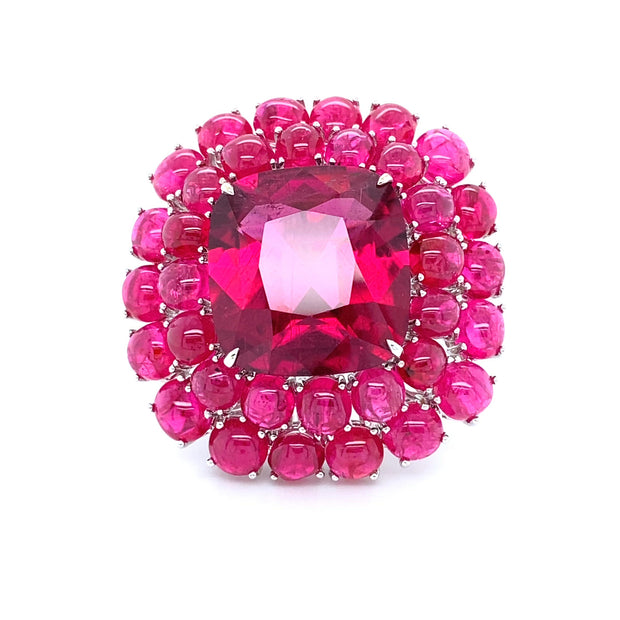 Rubellite ring featuring pink spinel and diamond, crafted in 18 karat white gold.