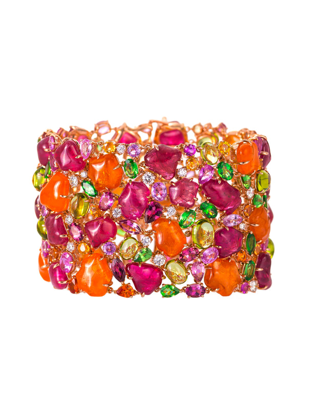 """Blossom"" mandarin garnet and pink spinel cuff, crafted in 18 karat rose gold."