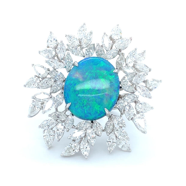 """Constellation"" black opal and diamond ring, crafted in 18 karat white gold."