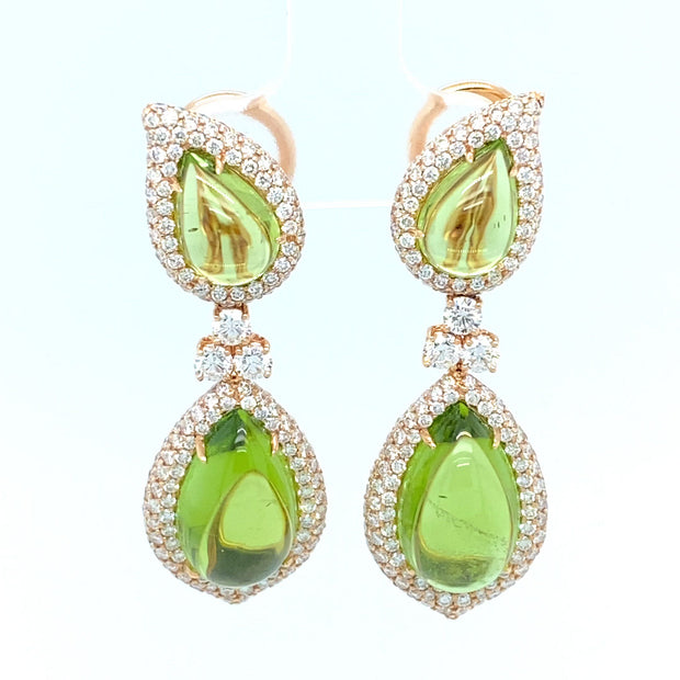 Pear cut cabochon peridot and diamond drop earrings, crafted in 18 karat rose gold.