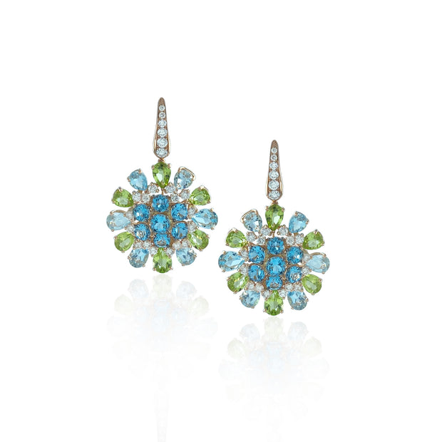 Blue topaz and peridot drop earrings, crafted in 18 karat rose gold.