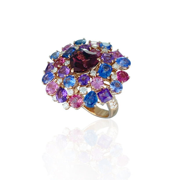 Rhodelite & multi-coloured stone ring, crafted in 18 karat rose gold.