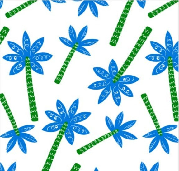 PALM TREE TOSS PRINT ON MINKY FABRIC BY EZ FABRIC