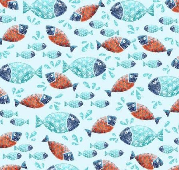 School Of Fish Print on minky fabric by EZ Fabric
