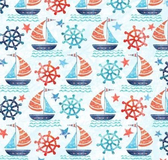 Set Sail Print on minky fabric by EZ Fabric