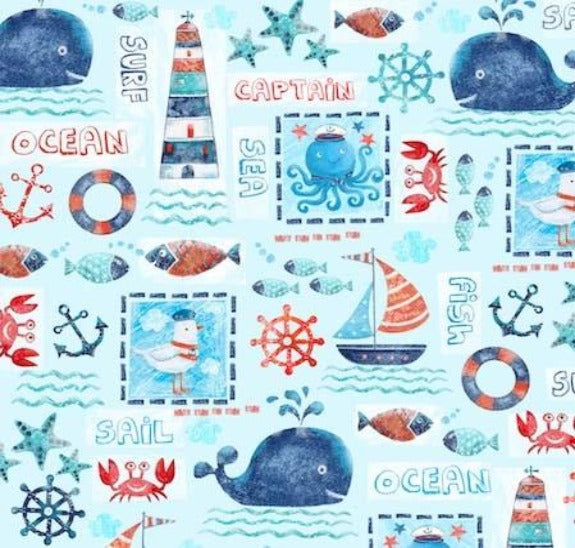 Sea Adventure Patchwork print on minky fabric by EZ Fabric
