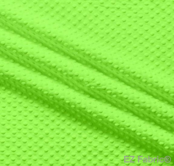Silky Minky Dot Bright Lime by EZ Fabric