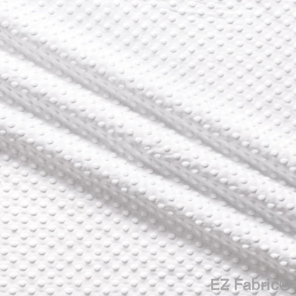 Silky Minky Dot Fabric White Solid Smooth