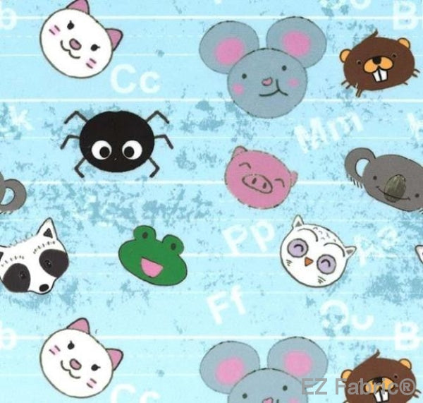 Animal Letter Scatter light blue on MInky by EZ Fabric