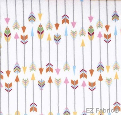 Arrows White printed on MInky Fabric  by EZ Fabric
