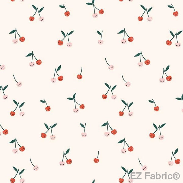 Cherry Small Cream on Minky Smooth by EZ Fabric