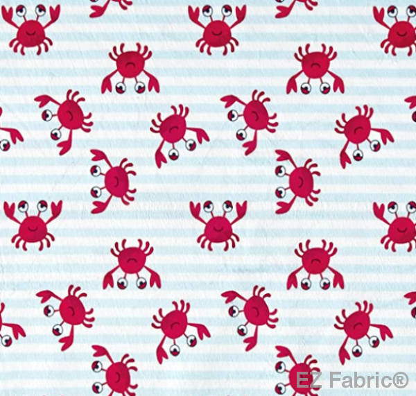 Crabby Stripe Light Blue on Minky Fabric by EZ Fabric