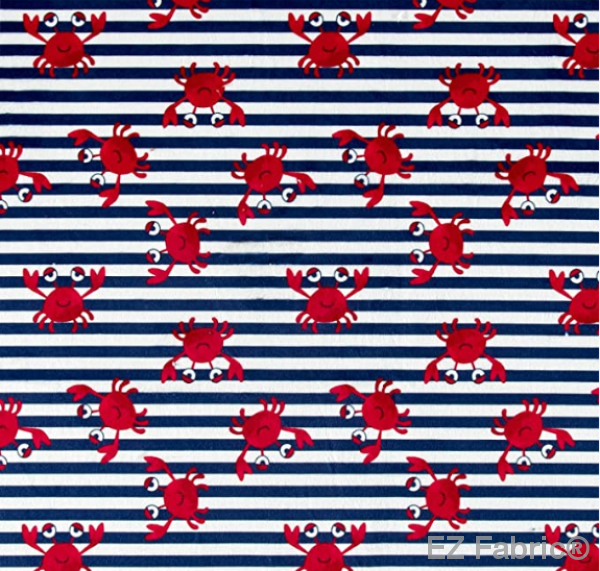 Crabby Stripe Navy on Minky Fabric by EZ Fabric