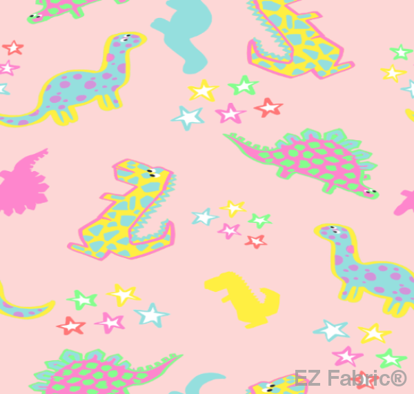 Dinostars Multi Print Minky By EZ Fabric
