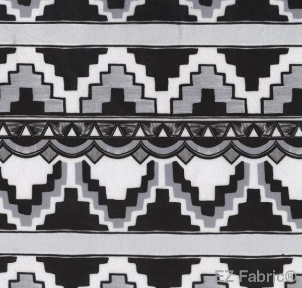 Art Deco Black on Minky Fabric