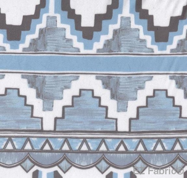 Art Deco Carpet Blue on MInky By EZ Fabric