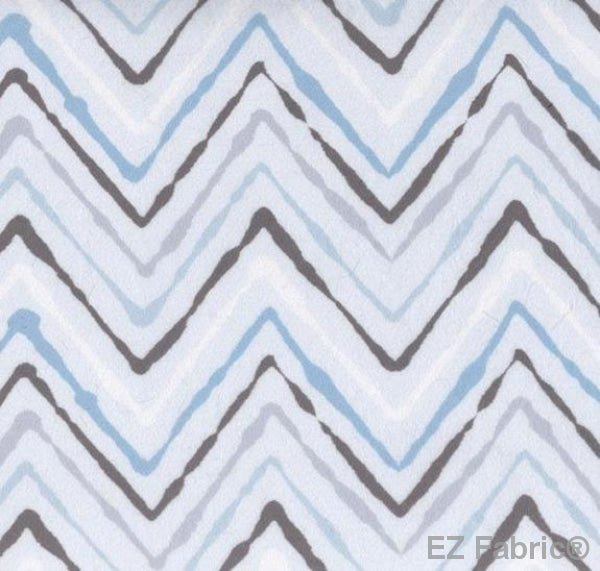 Chevron Ikat Blue on Minky Fabric by EZ Fabric