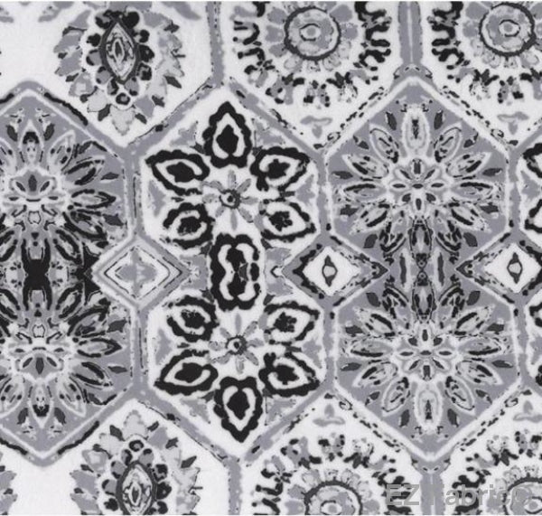 Geo Medallion Black on Minky Fabric by EZ Fabric