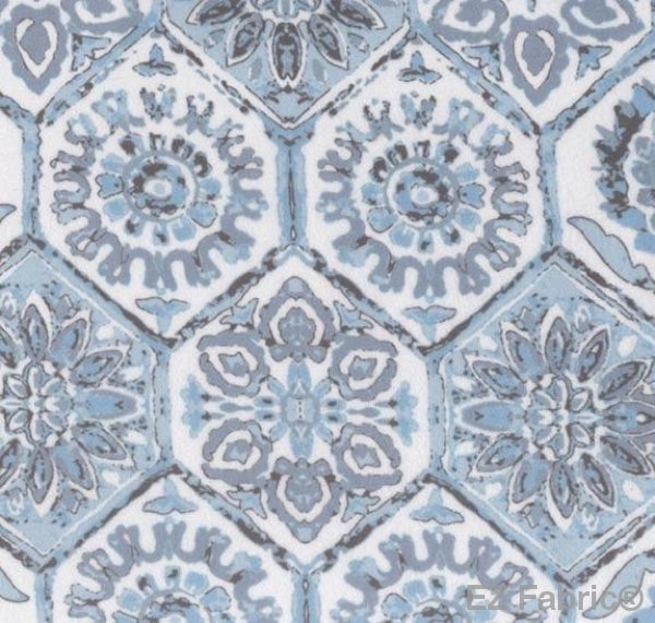 Geo Medallion Blue on Minky by EZ Fabric