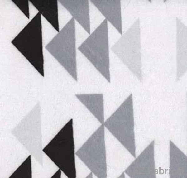 Triangles Black on Minky by EZ Fabric