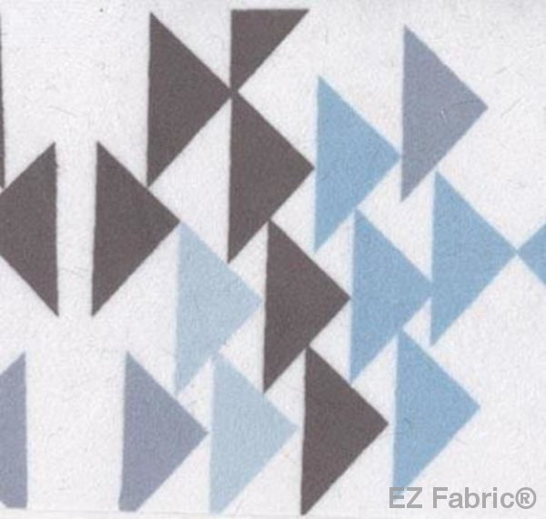 Triangles Blue on Minky by EZ Fabric