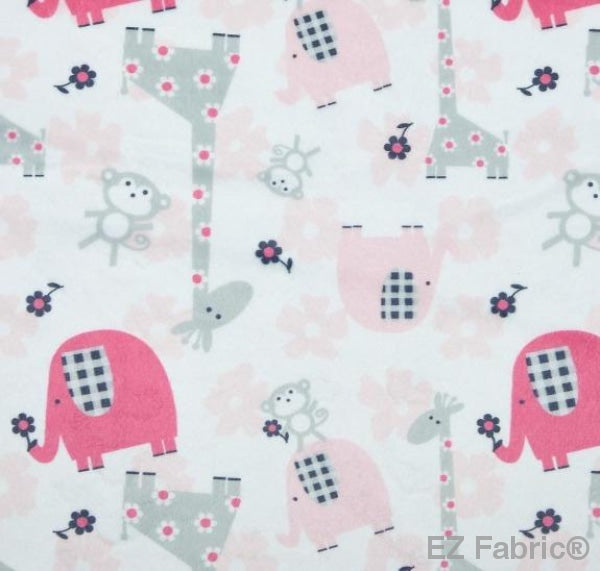 Jungle Dream Candy Pink Print Minky By EZ Fabric