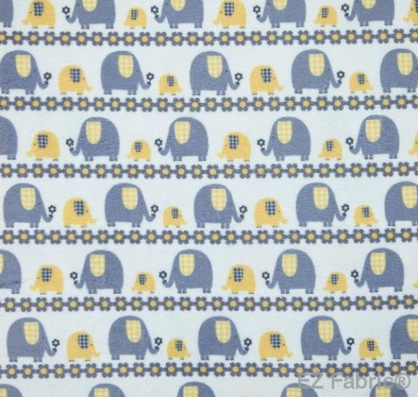 Marching Elephants Yellow Print Minky By EZ Fabric
