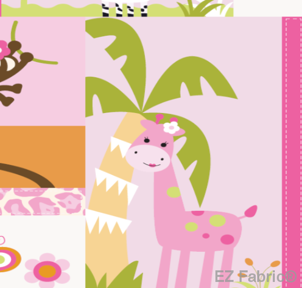 Jungle Princess Pink on Smooth Minky Fabric by EZ Fabric