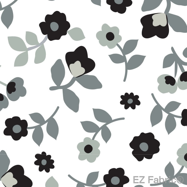 Smooth Kashmir Print On Minky Fabric Black / Floral