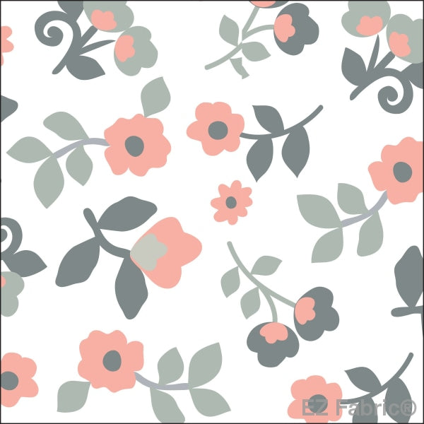 Smooth Kashmir Print On Minky Fabric Coral / Floral