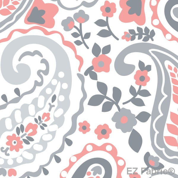 Smooth Kashmir Print On Minky Fabric Coral / Paisley