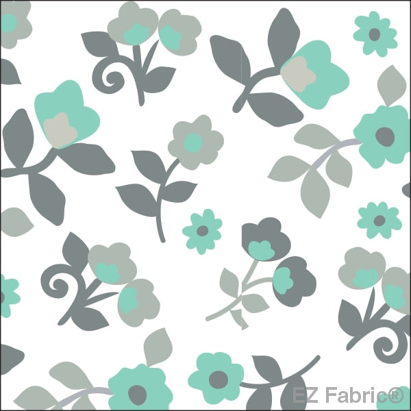 Smooth Kashmir Print On Minky Fabric Mint / Floral