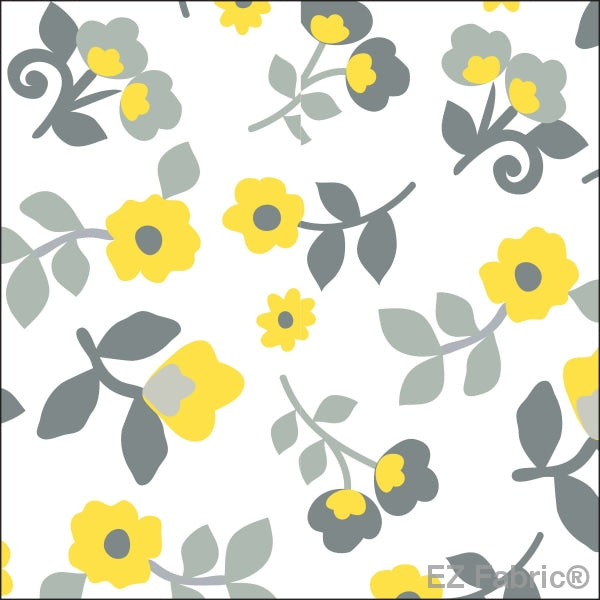 Smooth Kashmir Print On Minky Fabric Yellow / Floral