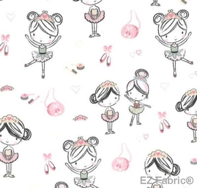 Little Ballerinas on Smooth Minky by EZ Fabric