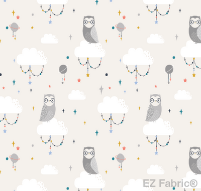 Lunar Owls Gray Print Minky By EZ Fabric