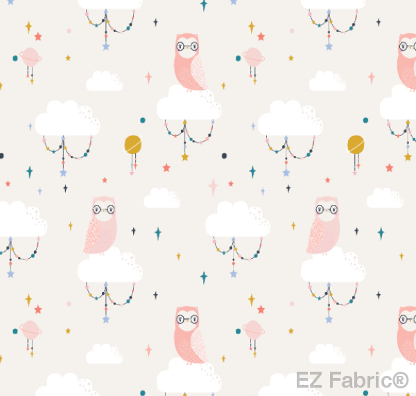 Lunar Owls Salmon Print Minky By EZ Fabric