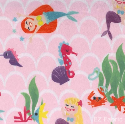 Mermaids Pink on Minky Fabric by EZ Fabric