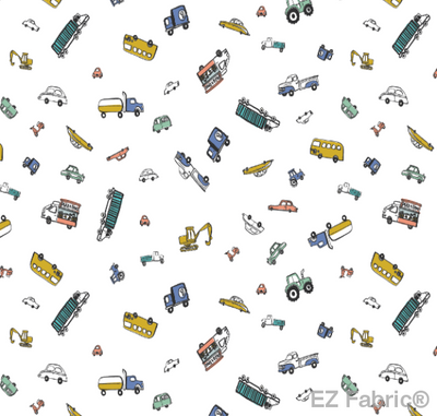 Motor Vehicles Multi Print Minky By EZ Fabric