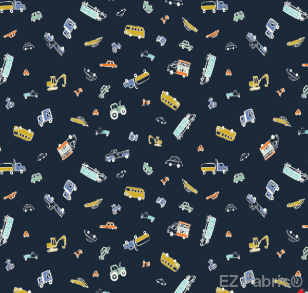 Motor Vehicles Navy Print Minky By EZ Fabric